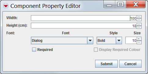 Component Property Editor window