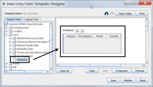Dragging a subobject table to the design pane