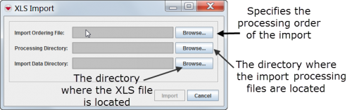 XLS Import window