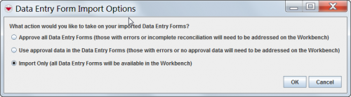 Data Entry Form Import Options window
