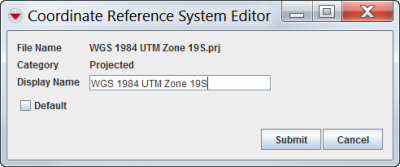 Coordinate Reference System Editor Window