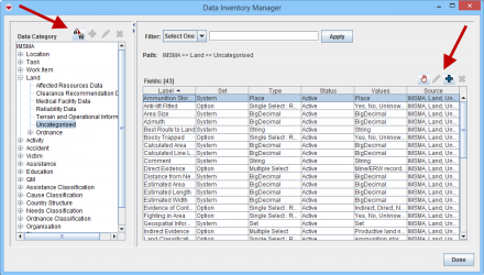 Data Inventory Manager Window
