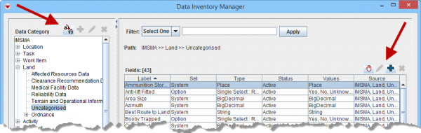 Buttons in Data Inventory Manager Window