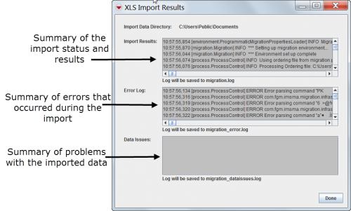 XLS/CSV Import Results window